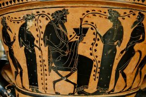 Dionysos and Members of his Thiasos (525–500 BCE, Louvre Museum)