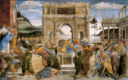 botticcelli2c_sandro_-_the_punishment_of_korah_and_the_stoning_of_moses_and_aaron_-_1481-82